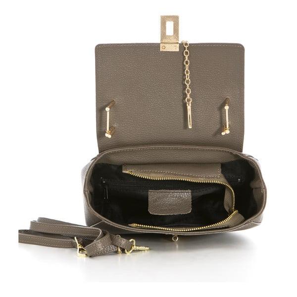 Šedo-béžová kožená kabelka Federica Bassi Virgin