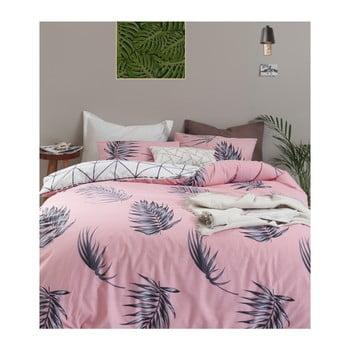 Lenjerie de pat cu cearșaf din bumbac ranforce, pentru pat dublu Mijolnir Barbara Pink, 200 x 220 cm de la Mijolnir