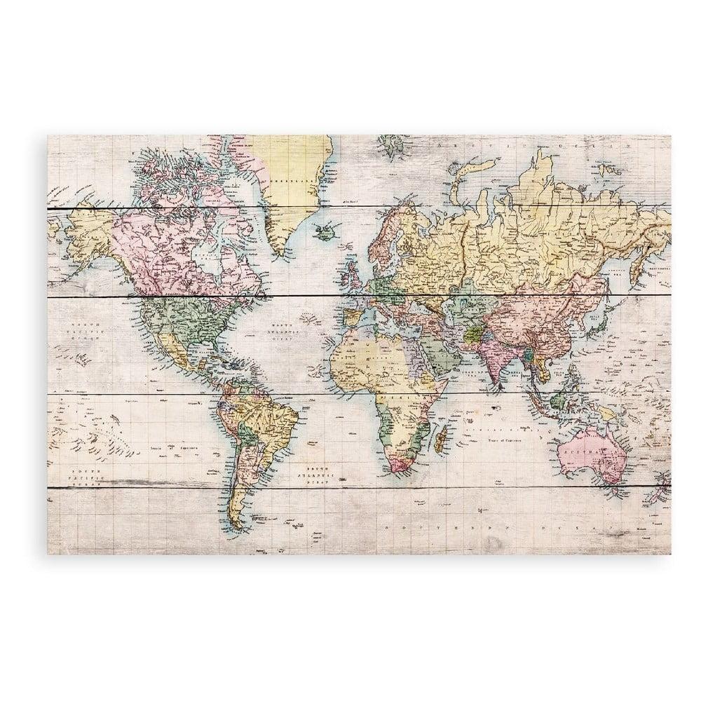 Cedule z borovicového dřeva Really Nice Things Worldmap, 60 x 40 cm
