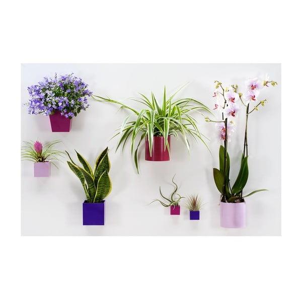 Set 3ks magnetických květináčů Cylinder Violet, střední