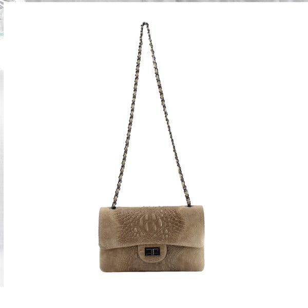 Taupe kožená kabelka Chicca Borse Dorine