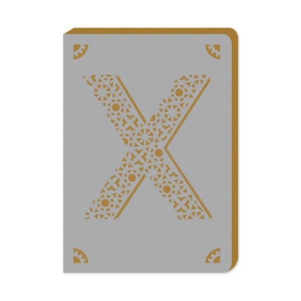 Linkovaný zápisník A6 s monogramem Portico Designs X, 160stránek
