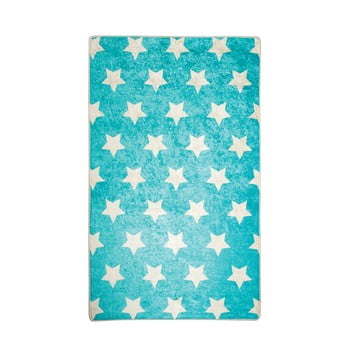 Covor antiderapant pentru copii Chilai Stars,100x160cm, albastru imagine