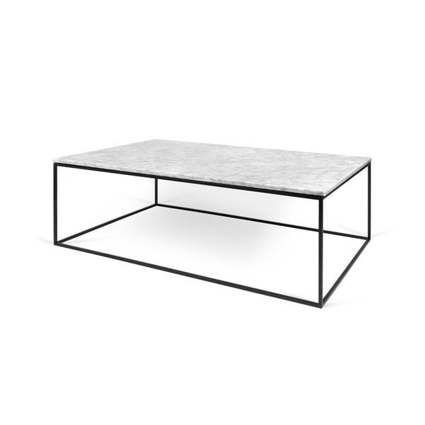Bílý mramorový konferenční stolek s černými nohami TemaHome Gleam, 120 cm