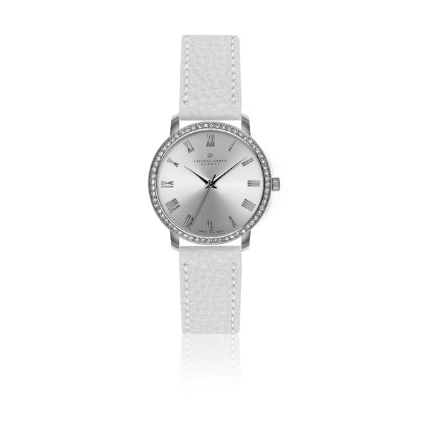 Dámske hodinky s bielym remienkom z pravej kože Frederic Graff Ruinette