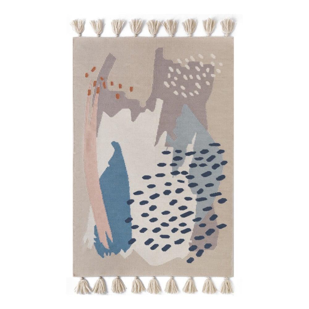 Ručně tkaný hnědý vlněný koberec Art For Kids Chroma, 110x160cm