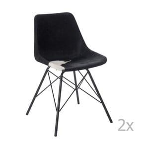 Sada 2 černo-bílých kožených židlí J-Line Cross
