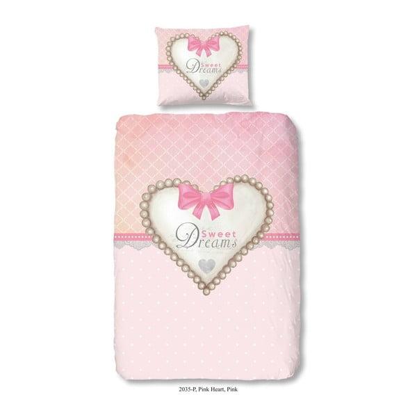 Dětské bavlněné povlečení na jednolůžko Muller Textiels Pink Heart, 140x200 cm