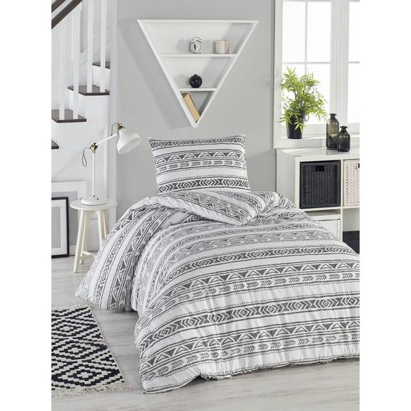 Lenjerie de pat din bumbac ranforce pentru pat de 1 persoană Mijolnir Pizza White, 140 x 200 cm