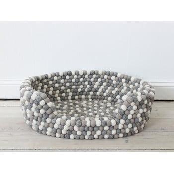 Pat cu bile din lână, pentru animale de companie Wooldot Ball Pet Basket, 80 x 60 cm, alb - gri deschis imagine