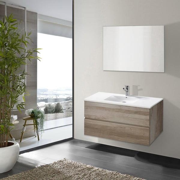 Koupelnová skříňka s umyvadlem a zrcadlem Flopy, dekor dubu, 90 cm