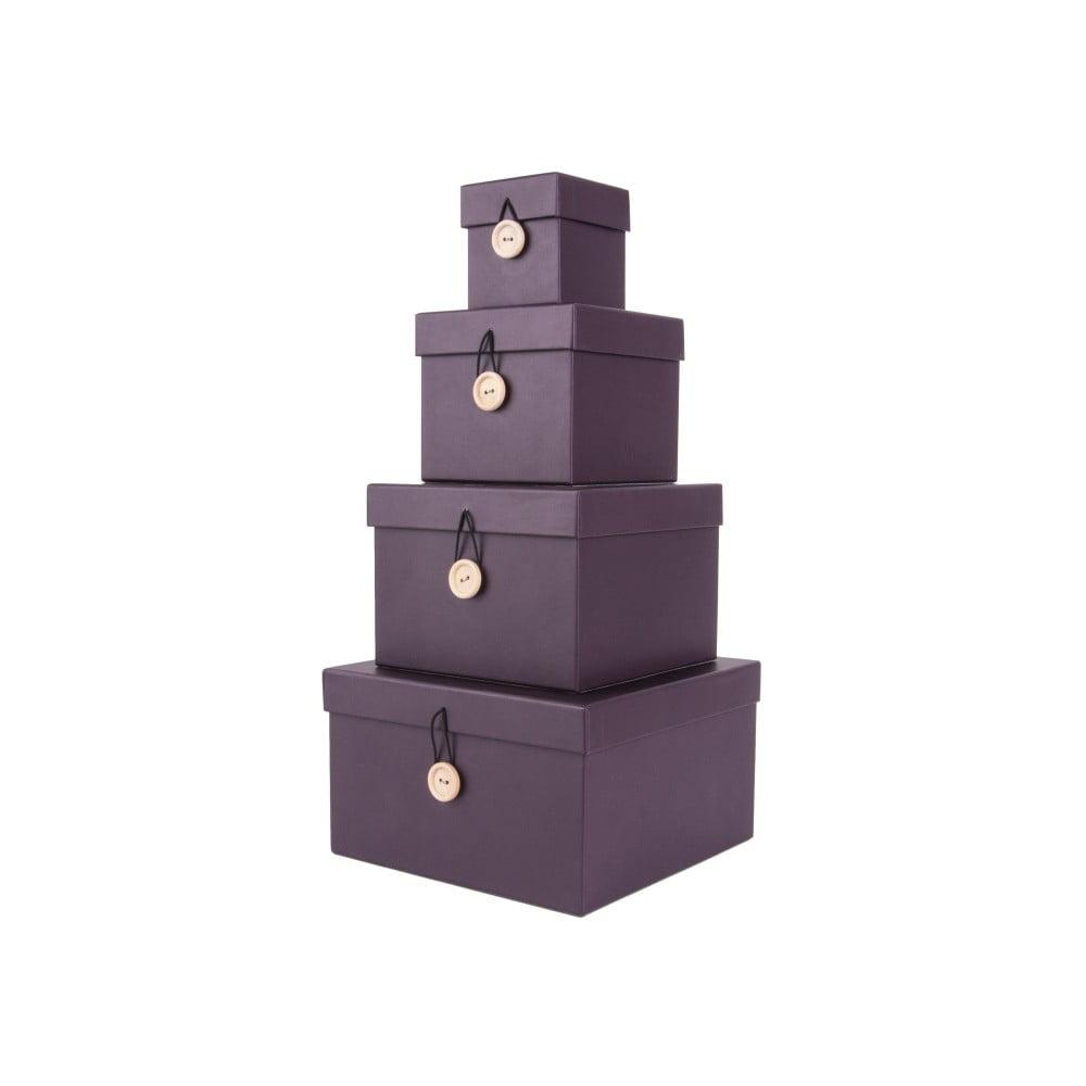 Sada 4 fialových úložných boxů s víkem PT LIVING Uniform