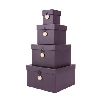 Set 4 cutii de depozitare PT LIVING Uniform, mov