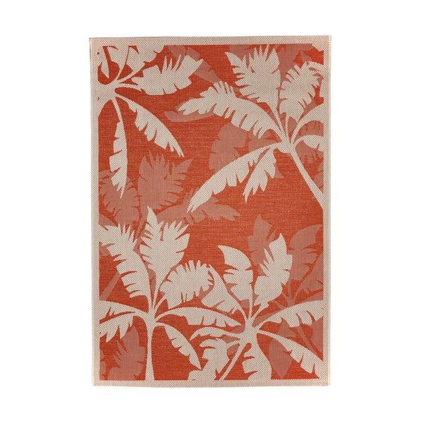 Oranžovo-béžový venkovní koberec Floorita Palms, 160 x 230 cm