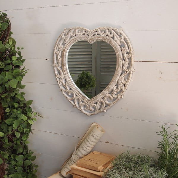 Zrcadlo Shabby Heart, 43x44 cm