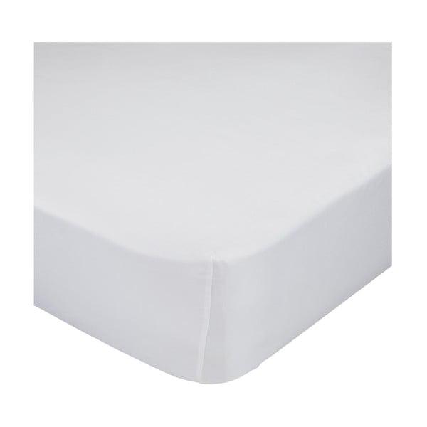 Bílé bavlněné elastické prostěradlo Happy Friday Basic, 90x200cm
