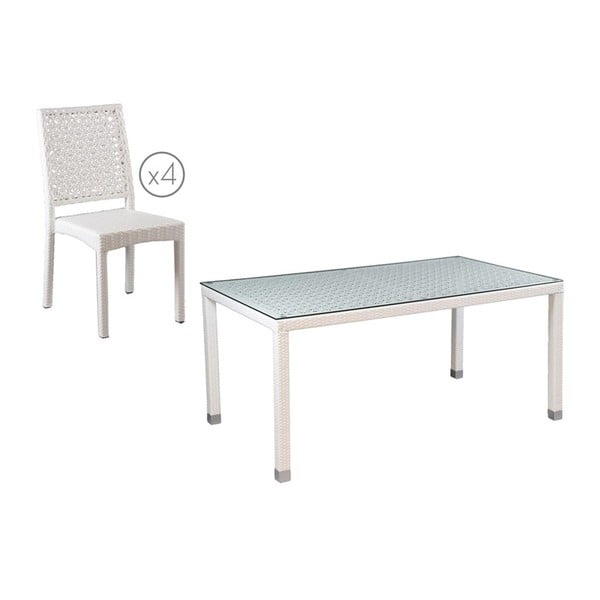 Zahradní stůl a 4 židle Sagunto White