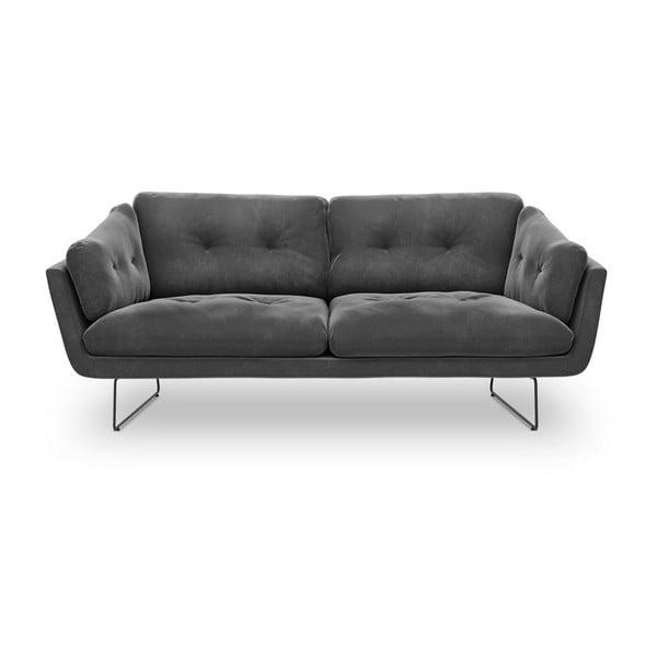 Canapea cu 3 locuri și tapițerie de catifea Windsor & Co Sofas Gravity, gri închis