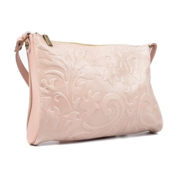 Světle růžová kožená kabelka Carla Ferreri Cipria