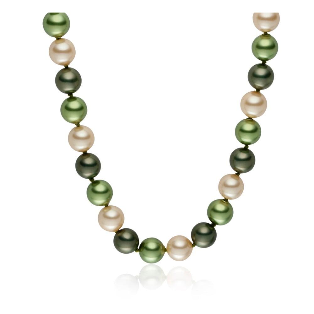 Zelený perlový náhrdelník Pearls Of London Mystic, délka 45 cm