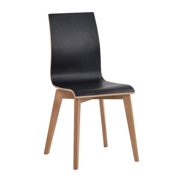 Čierna jedálenská stolička s hnedými nohami Rowico Grace
