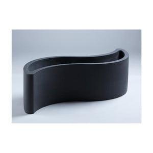 Černý květináč/lavice Slide Wave, 160x60cm