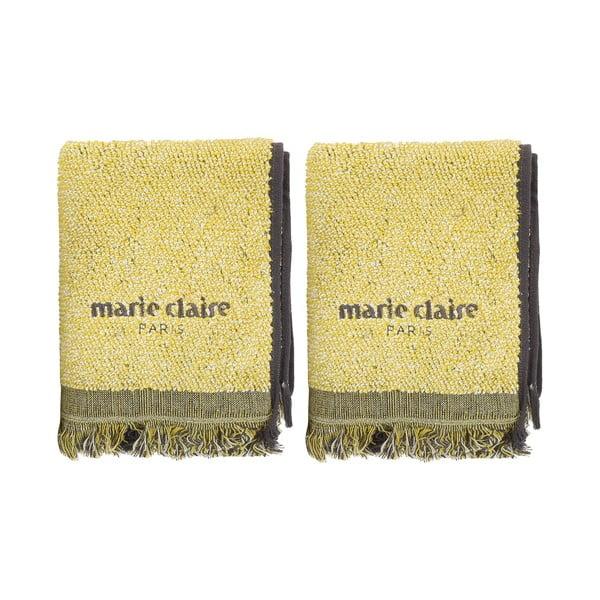 Zestaw 2 żółtych ręczników Marie Claire Colza, 40x60 cm