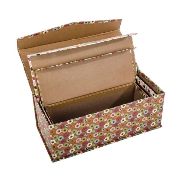 Sada 3 úložných krabic Vintage Dots
