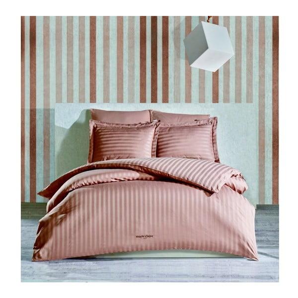 Tmavě růžové povlečení z bavlněného saténu na dvoulůžko s prostěradlem Vogue, 200 x 220 cm