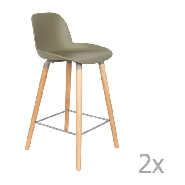 Set 2 scaune bar Zuiver Albert Kuip, înălțime scaun 65cm, verde