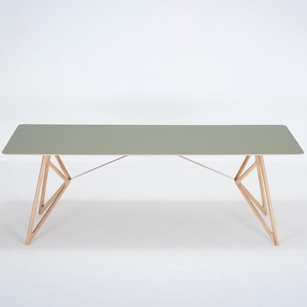 Jídelní stůl z masivního dubového dřeva se zelenou deskou Gazzda Tink, 220x90cm