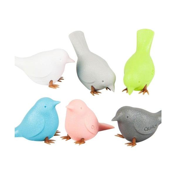 Sada 6 magnetů ve tvaru ptáčka Qualy&CO Mini Sparrow Pastel