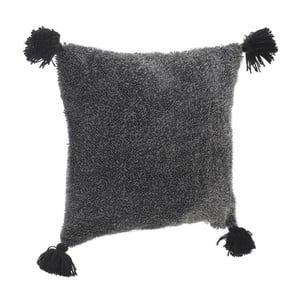 Tmavě šedý polštář se střapci InArt, 45x45cm