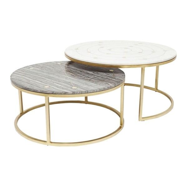 Sada 2 konferenčních stolků s mramorovou deskou Kare Design Mystic