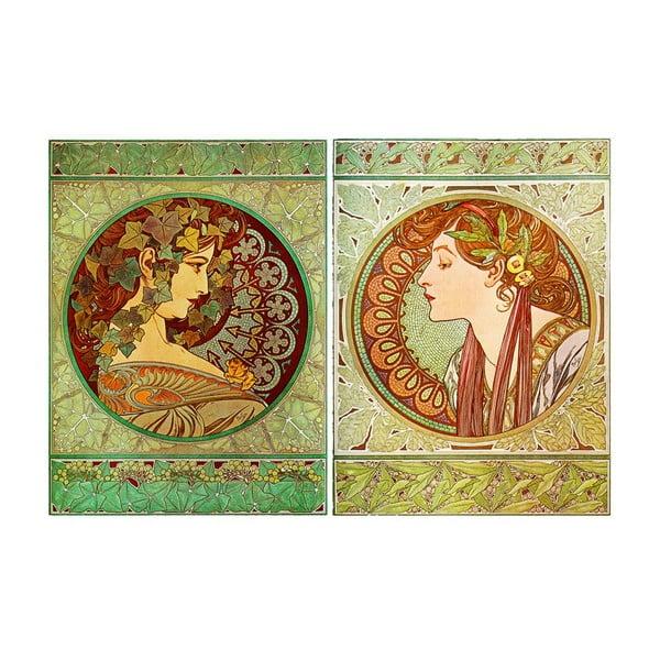 Sada 2 obrazů Ivy and Laurel od Alfonse Muchy, 60x80 cm