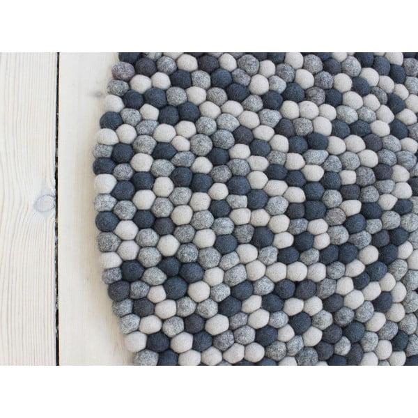 Tmavosivý guľôčkový vlnený koberec Wooldot Ball rugs, ⌀ 90 cm