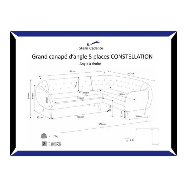 Námořnicky modrá pohovka Constellation Grand na pravé straně