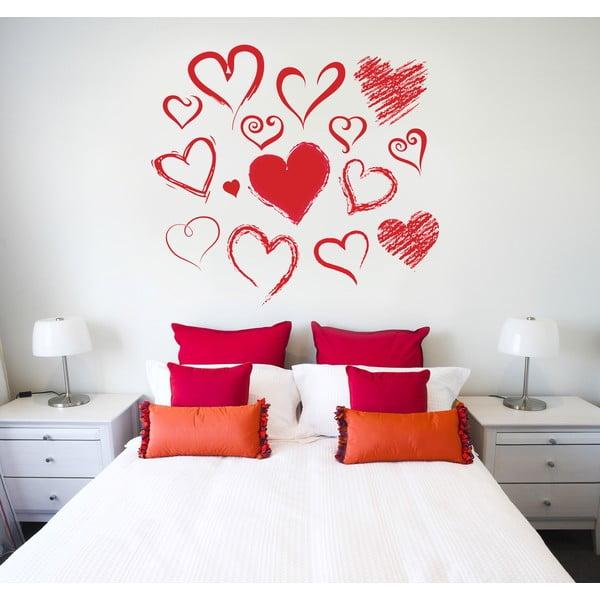 Samolepka na stěnu Malovaná srdce, 60x90 cm