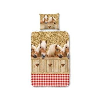 Lenjerie de pat pentru copii Sand Horses 135x200 cm închidere cu fermoar