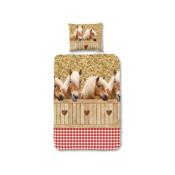 Lenjerie de pat pentru copii Sand Horses, 135x200 cm, închidere cu fermoar