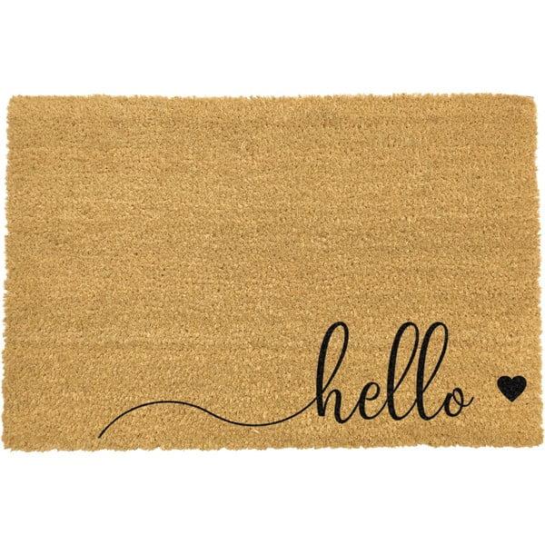 Wycieraczka z naturalnego włókna kokosowego Artsy Doormats Hello Scribble, 40x60 cm