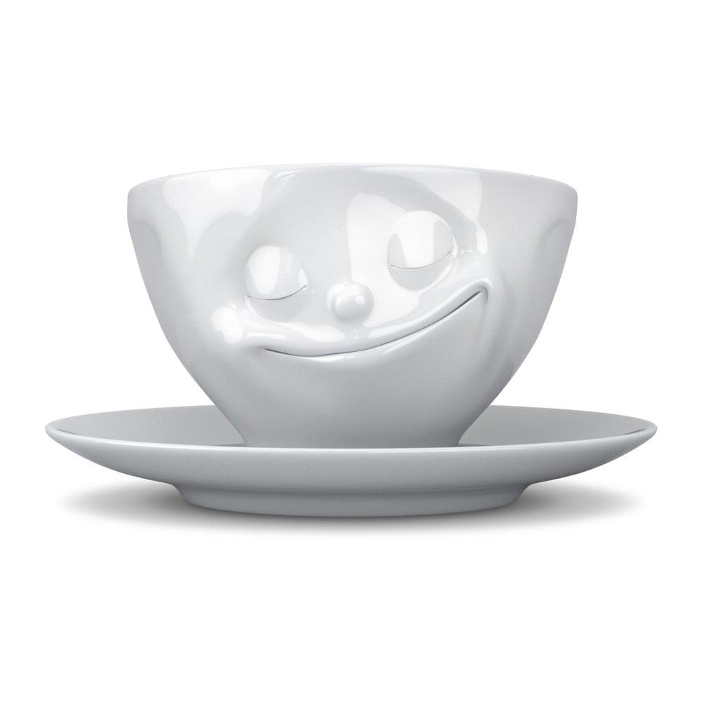 Bílý šťastný porcelánový hrnek na kávu 58products, objem 200 ml