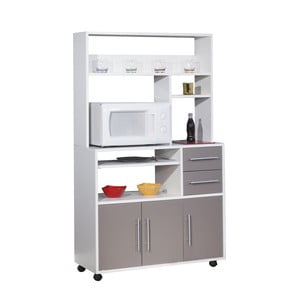 Šedý pojízdný kuchyňský úložný systém s policemi Symbiosis Cesar