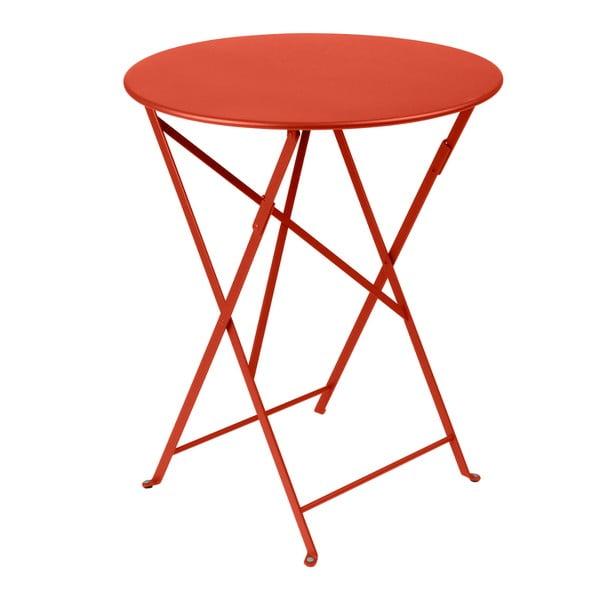 Červenooranžový skládací kovový stůl Fermob Bistro