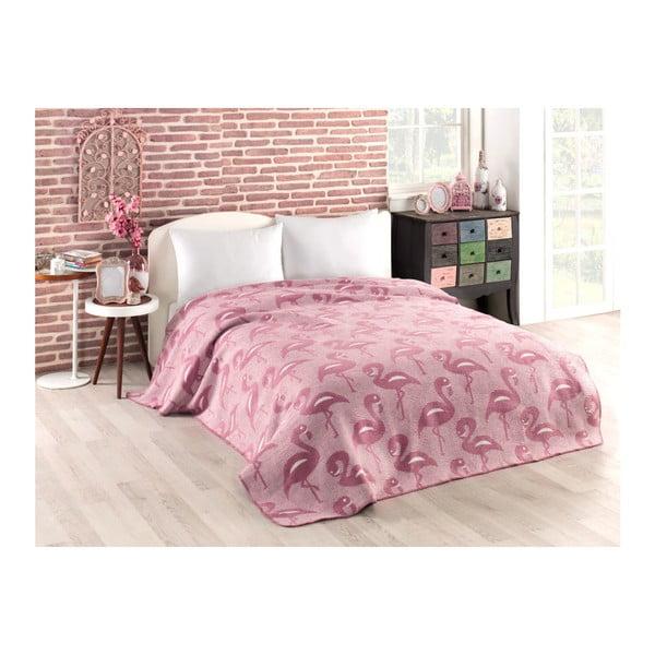 Flamingo rózsaszín pamutkeverék takaró, 150 x 200 cm