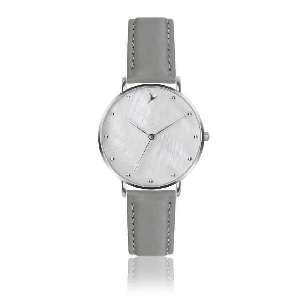 Dámské hodinky s šedým páskem z pravé kůže Emily Westwood Seashell