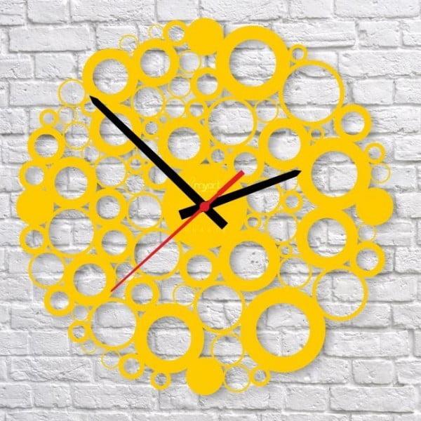 Nástěnné hodiny Yellow Bubble