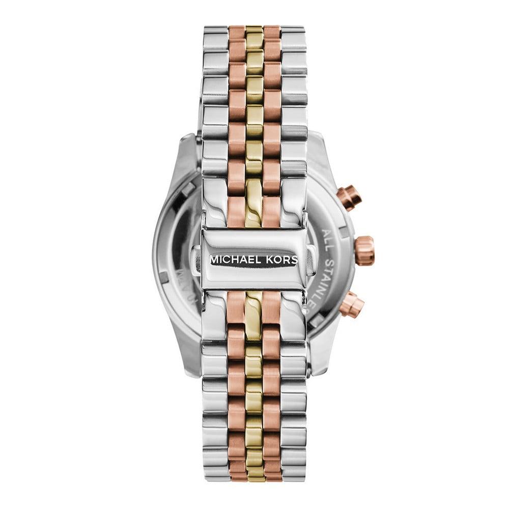 2a444fa507 Dámské hodinky ve stříbrné barvě s detaily v barvě růžového zlata Michael  Kors Lexington ...