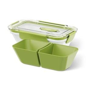 Box na jídlo Rectangular White/Green, 0,5 l