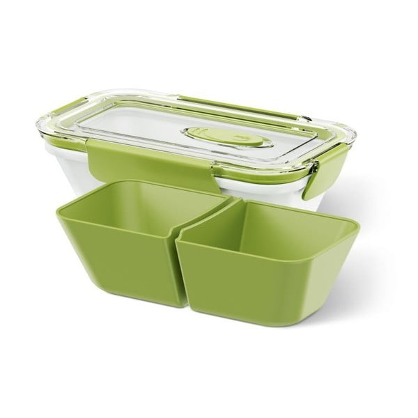 Box na jídlo Rectangular White/Green, 0,5 l